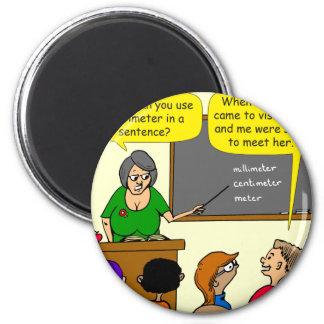 893 Centimeters play on word school cartoon Magnet