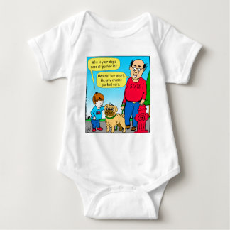 895 dog chases parked cars cartoon baby bodysuit