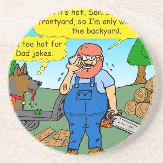 899 111 in front yard bad dad joke cartoon coaster