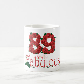 89 and fabulous 89th birthday red roses floral coffee mug