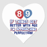 89.o diseño año del cumpleaños calcomanía corazón personalizadas
