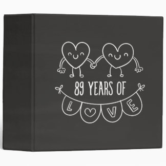 89th Anniversary Gift Chalk Hearts Binder