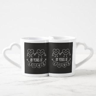 89th Anniversary Gift Chalk Hearts Coffee Mug Set