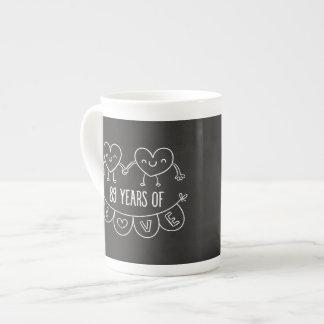 89th Anniversary Gift Chalk Hearts Tea Cup