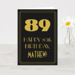 "[ Thumbnail: 89th Birthday – Art Deco Inspired Look ""89"" & Name Card ]"