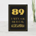 "[ Thumbnail: 89th Birthday ~ Art Deco Inspired Look ""89"" & Name Card ]"