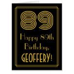 "[ Thumbnail: 89th Birthday: Art Deco Inspired Look ""89"" + Name Card ]"