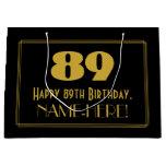 "[ Thumbnail: 89th Birthday — Art Deco Inspired Look ""89"" & Name Gift Bag ]"