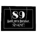 "[ Thumbnail: 89th Birthday: Art Deco Inspired Style ""89"", Name Gift Bag ]"