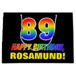 [ Thumbnail: 89th Birthday: Bold, Fun, Simple, Rainbow 89 Gift Bag ]