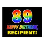 [ Thumbnail: 89th Birthday: Bold, Fun, Simple, Rainbow 89 Postcard ]