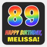[ Thumbnail: 89th Birthday: Bold, Fun, Simple, Rainbow 89 Sticker ]