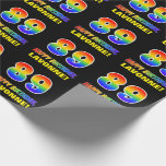 [ Thumbnail: 89th Birthday: Bold, Fun, Simple, Rainbow 89 Wrapping Paper ]