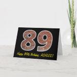 "[ Thumbnail: 89th Birthday - Brick Wall Pattern ""89"" W/ Name Card ]"