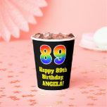 [ Thumbnail: 89th Birthday: Colorful, Fun, Exciting, Rainbow 89 ]