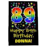 [ Thumbnail: 89th Birthday: Colorful Stars Pattern & Rainbow 89 Gift Bag ]