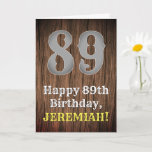 [ Thumbnail: 89th Birthday: Country Western Inspired Look, Name Card ]