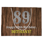 [ Thumbnail: 89th Birthday: Country Western Inspired Look, Name Gift Bag ]