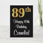 [ Thumbnail: 89th Birthday ~ Elegant Luxurious Faux Gold Look # Card ]
