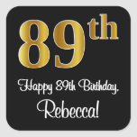 [ Thumbnail: 89th Birthday – Elegant Luxurious Faux Gold Look # Sticker ]