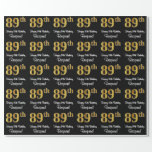 [ Thumbnail: 89th Birthday: Elegant Luxurious Faux Gold Look # Wrapping Paper ]