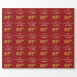 [ Thumbnail: 89th Birthday: Elegant, Red, Faux Gold Look Wrapping Paper ]