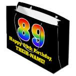 [ Thumbnail: 89th Birthday ~ Fun, Colorful, Vibrant, Rainbow 89 Gift Bag ]