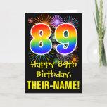 [ Thumbnail: 89th Birthday: Fun Fireworks Pattern + Rainbow 89 Card ]