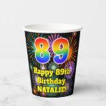 [ Thumbnail: 89th Birthday: Fun Fireworks Pattern + Rainbow 89 ]
