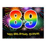 [ Thumbnail: 89th Birthday – Fun Fireworks Pattern + Rainbow 89 Postcard ]