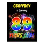 "[ Thumbnail: 89th Birthday - Fun Fireworks, Rainbow Look ""89"" Postcard ]"