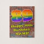 [ Thumbnail: 89th Birthday: Fun Graffiti-Inspired Rainbow 89 Jigsaw Puzzle ]