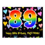 [ Thumbnail: 89th Birthday: Fun Hearts Pattern, Rainbow 89 Postcard ]