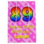 [ Thumbnail: 89th Birthday: Fun Pink Hearts Stripes; Rainbow 89 Gift Bag ]