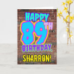 [ Thumbnail: 89th Birthday - Fun, Urban Graffiti Inspired Look Card ]