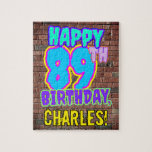[ Thumbnail: 89th Birthday ~ Fun, Urban Graffiti Inspired Look Jigsaw Puzzle ]
