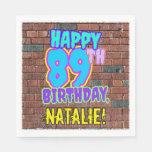 [ Thumbnail: 89th Birthday ~ Fun, Urban Graffiti Inspired Look Napkins ]