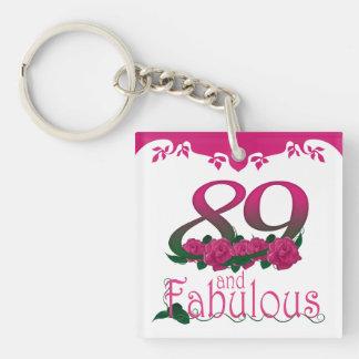 89th Birthday pink flower photo text keychain