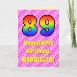 [ Thumbnail: 89th Birthday: Pink Stripes & Hearts, Rainbow # 89 Card ]