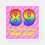 [ Thumbnail: 89th Birthday: Pink Stripes & Hearts, Rainbow # 89 Napkins ]