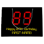 "[ Thumbnail: 89th Birthday: Red Digital Clock Style ""89"" + Name Gift Bag ]"