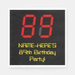 "[ Thumbnail: 89th Birthday: Red Digital Clock Style ""89"" + Name Napkins ]"