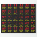 "[ Thumbnail: 89th Birthday: Red Digital Clock Style ""89"" + Name Wrapping Paper ]"