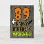[ Thumbnail: 89th Birthday: Spooky Halloween Theme, Custom Name Card ]