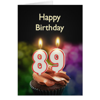 89th Birthday with cake and candles Card