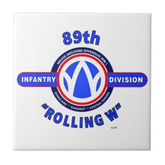 "89TH INFANTRY DIVISION ""ROLLING W"" DIVISION SMALL SQUARE TILE"