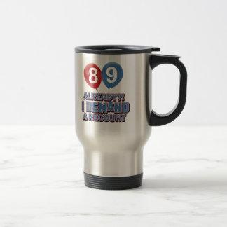 89th year birthday designs travel mug