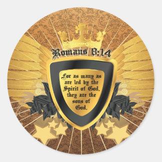 8:14 de los romanos del oro, hijos de dios etiqueta redonda