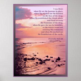 8:27 de los proverbios - 29 estaba allí IMPRESIÓN Póster