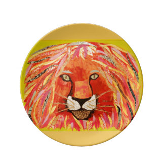 "8.5 "" Decorative Porcelain Plate with Bold Lion"